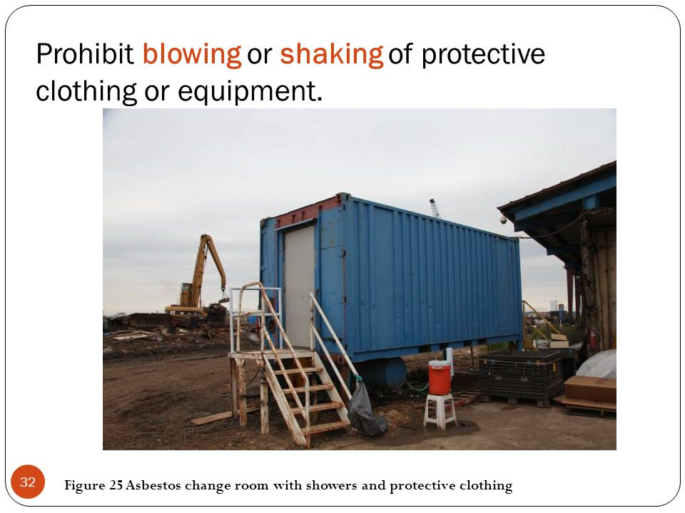 Prohibit blowing or shaking of protective clothing or equipment. Figure 25 Asbestos change room with showers and protective clothing 32