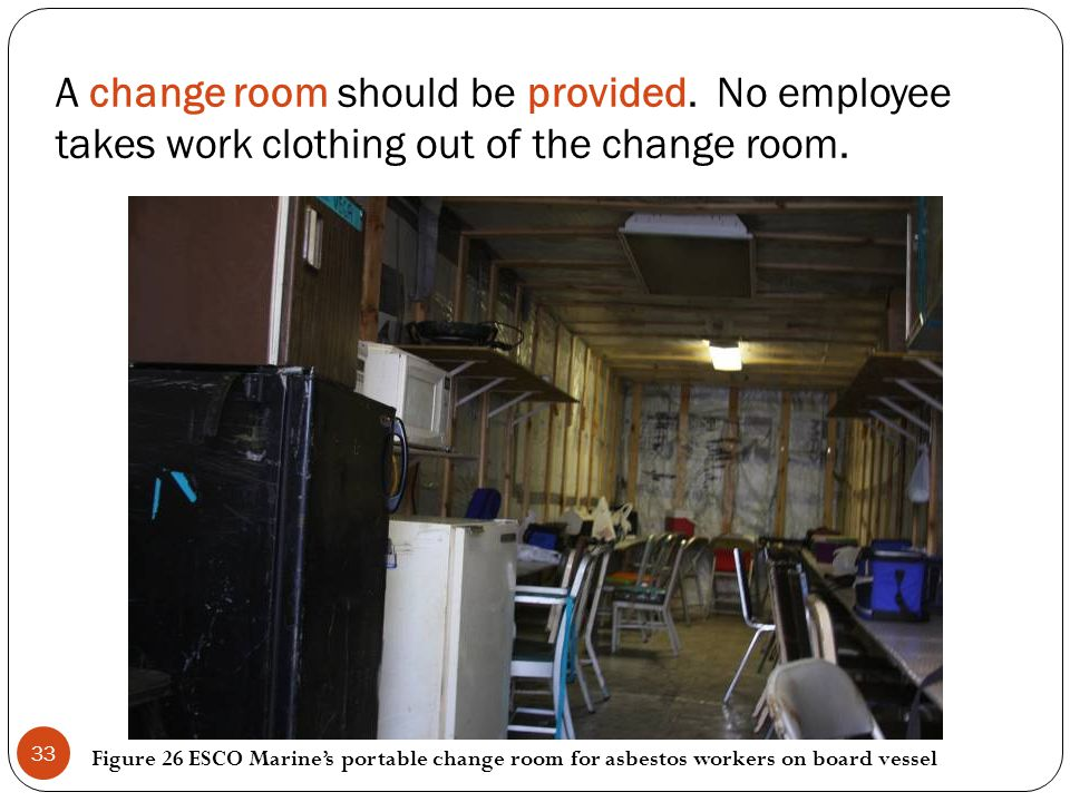 A change room should be provided. No employee takes work clothing out of the change room. Figure 26 ESCO Marines portable change room for asbestos wor