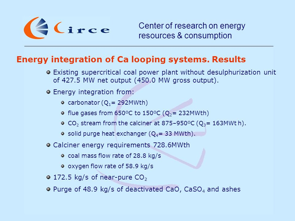Center of research on energy resources & consumption Energy integration of Ca looping systems.