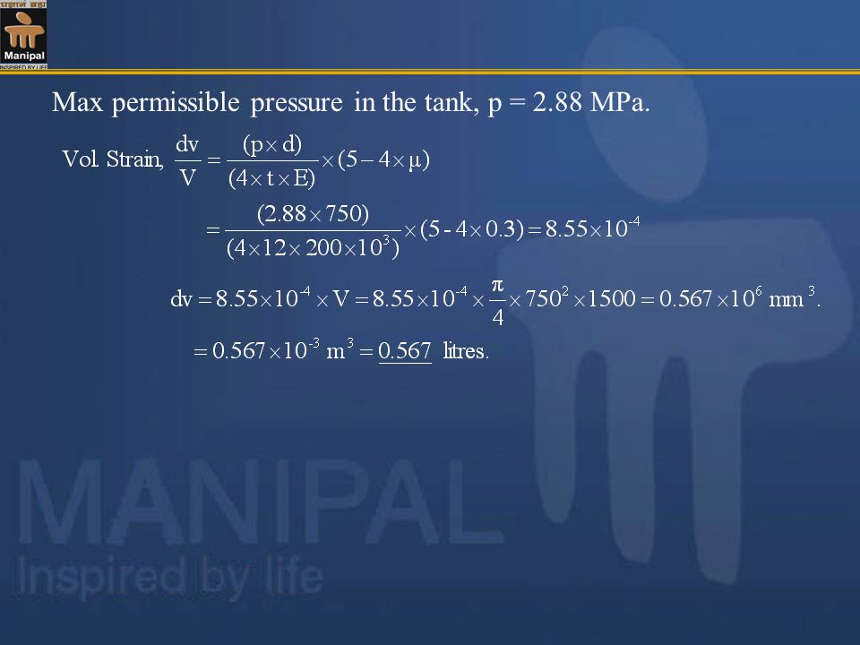 Max permissible pressure in the tank, p = 2.88 MPa.