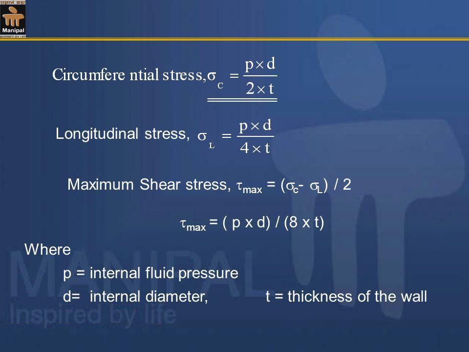 Where p = internal fluid pressure d= internal diameter, t = thickness of the wall Maximum Shear stress, max = ( c - L ) / 2 max = ( p x d) / (8 x t) Longitudinal stress,