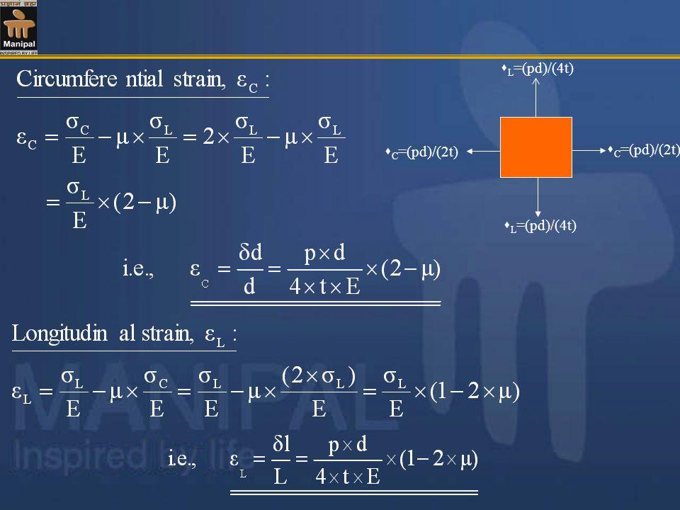 C =(pd)/(2t) L =(pd)/(4t)