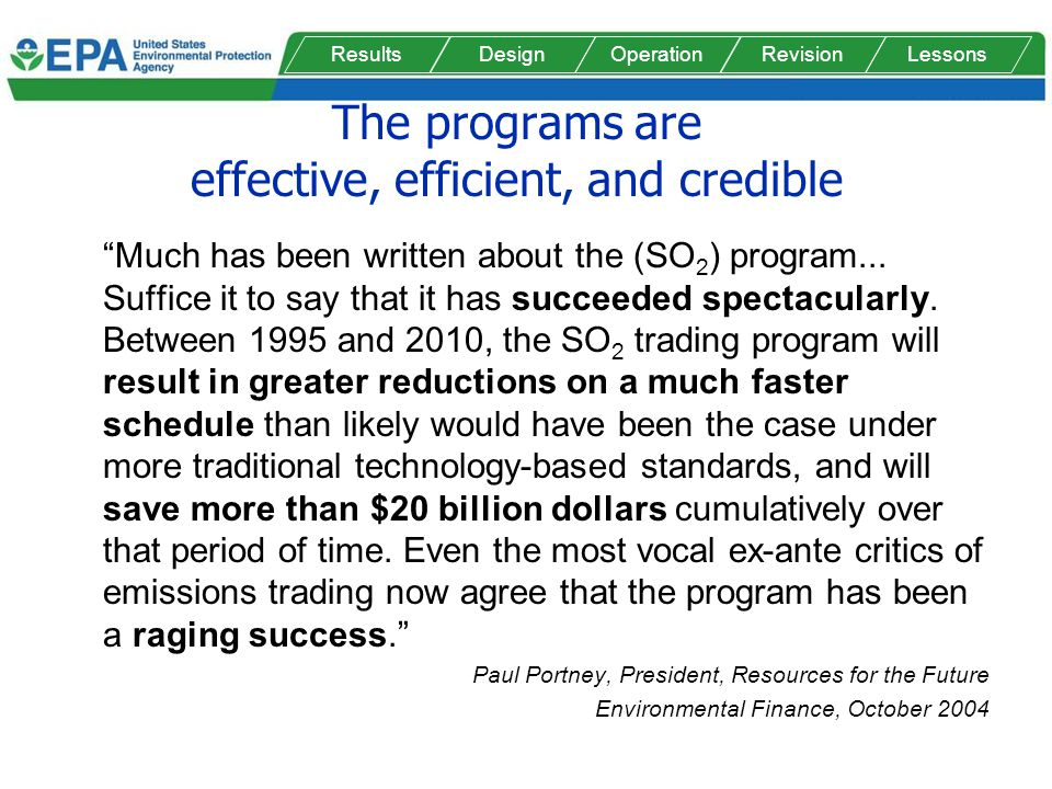 The programs are effective, efficient, and credible Much has been written about the (SO 2 ) program... Suffice it to say that it has succeeded spectac