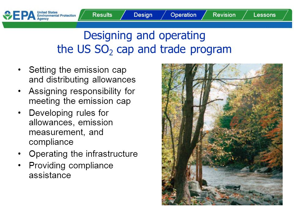 Designing and operating the US SO 2 cap and trade program Setting the emission cap and distributing allowances Assigning responsibility for meeting th