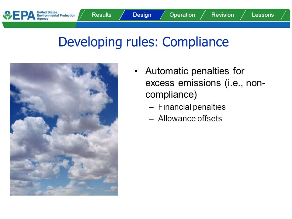 Developing rules: Compliance Automatic penalties for excess emissions (i.e., non- compliance) –Financial penalties –Allowance offsets ResultsOperationRevisionLessonsDesign