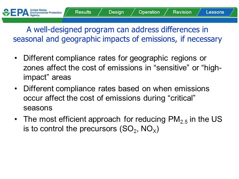 A well-designed program can address differences in seasonal and geographic impacts of emissions, if necessary Different compliance rates for geographic regions or zones affect the cost of emissions in sensitive or high- impact areas Different compliance rates based on when emissions occur affect the cost of emissions during critical seasons The most efficient approach for reducing PM 2.5 in the US is to control the precursors (SO 2, NO X ) ResultsDesignOperationRevisionLessons
