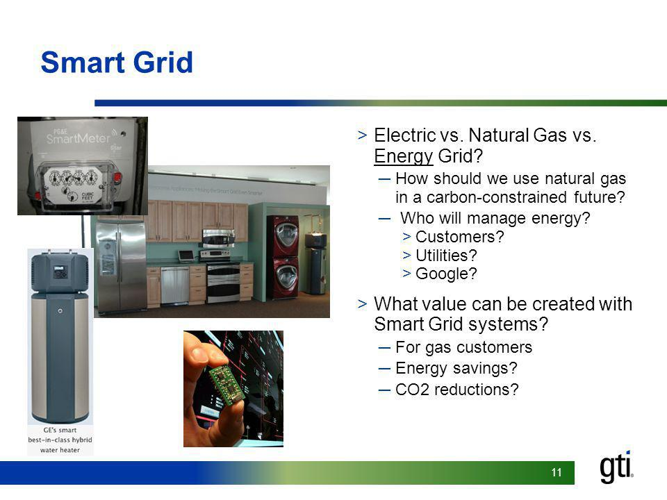 11 Smart Grid >Electric vs. Natural Gas vs. Energy Grid? How should we use natural gas in a carbon-constrained future? Who will manage energy? >Custom