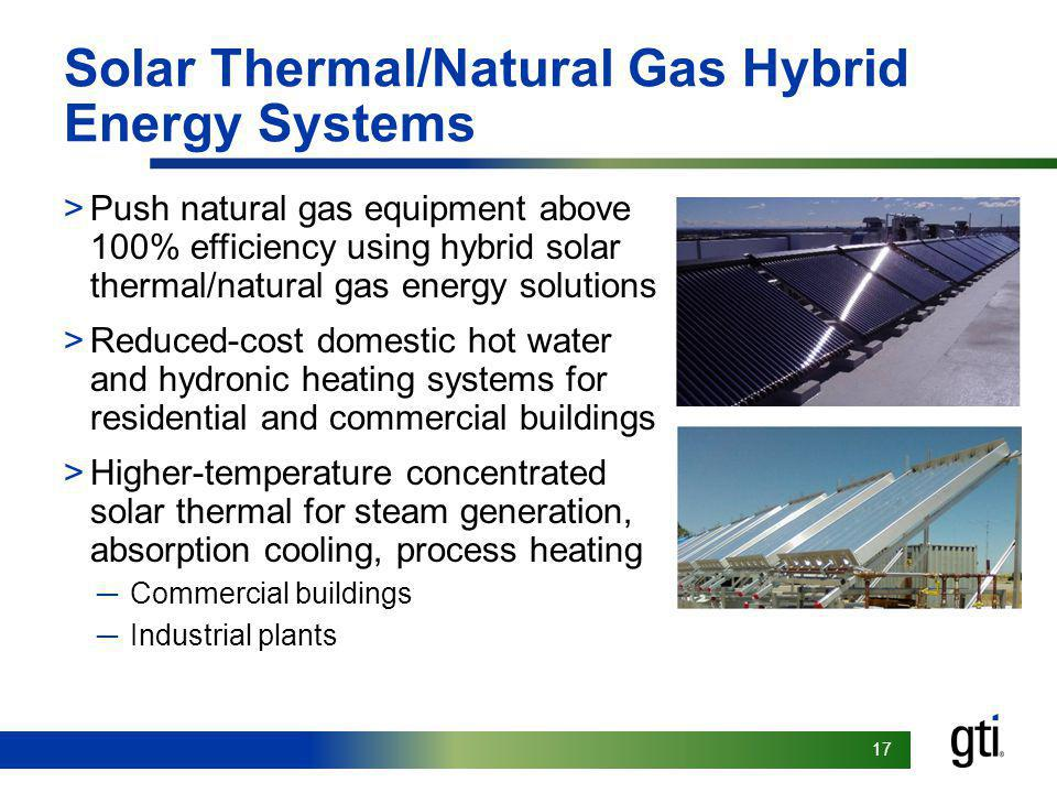 17 Solar Thermal/Natural Gas Hybrid Energy Systems >Push natural gas equipment above 100% efficiency using hybrid solar thermal/natural gas energy solutions >Reduced-cost domestic hot water and hydronic heating systems for residential and commercial buildings >Higher-temperature concentrated solar thermal for steam generation, absorption cooling, process heating Commercial buildings Industrial plants