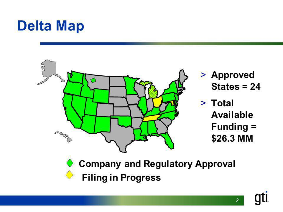 22 Delta Map >Approved States = 24 >Total Available Funding = $26.3 MM Company and Regulatory Approval Filing in Progress