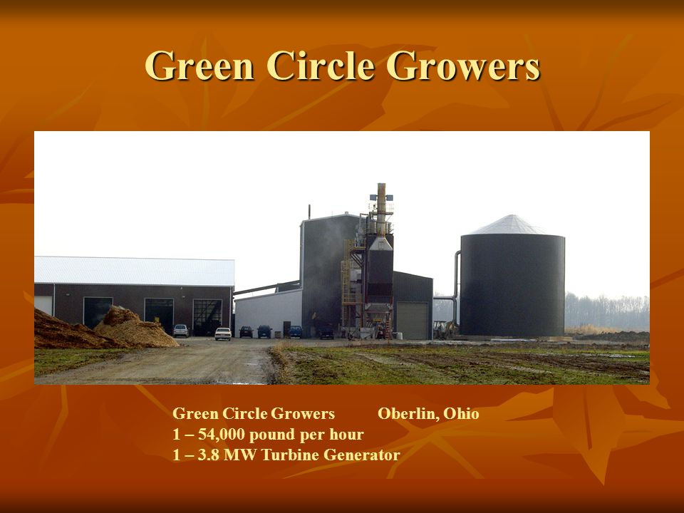 Green Circle Growers Green Circle GrowersOberlin, Ohio 1 – 54,000 pound per hour 1 – 3.8 MW Turbine Generator
