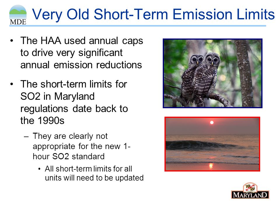 Very Old Short-Term Emission Limits The HAA used annual caps to drive very significant annual emission reductions The short-term limits for SO2 in Mar