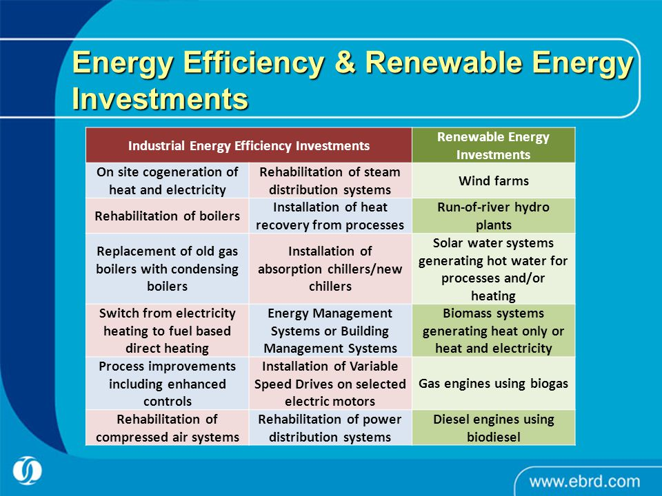 Energy Efficiency & Renewable Energy Investments Industrial Energy Efficiency Investments Renewable Energy Investments On site cogeneration of heat an