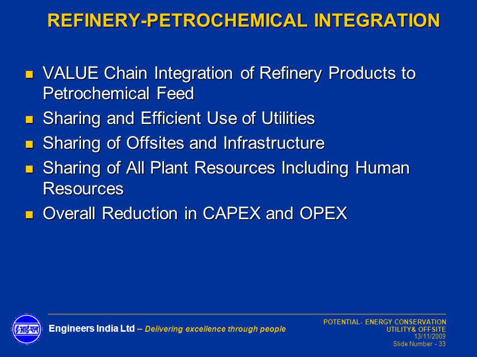 POTENTIAL- ENERGY CONSERVATION UTILITY& OFFSITE 13/11/2009 Slide Number - 33 Engineers India Ltd – Delivering excellence through people VALUE Chain In
