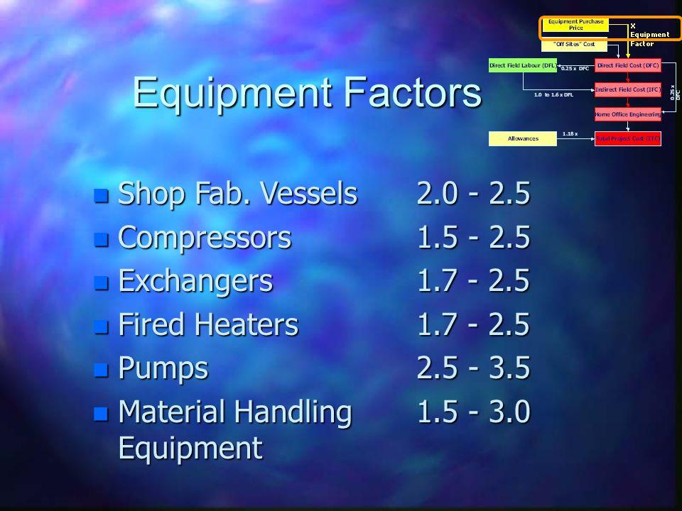 Equipment Factors n Shop Fab.