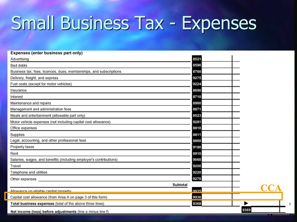Small Business Tax - Expenses CCA