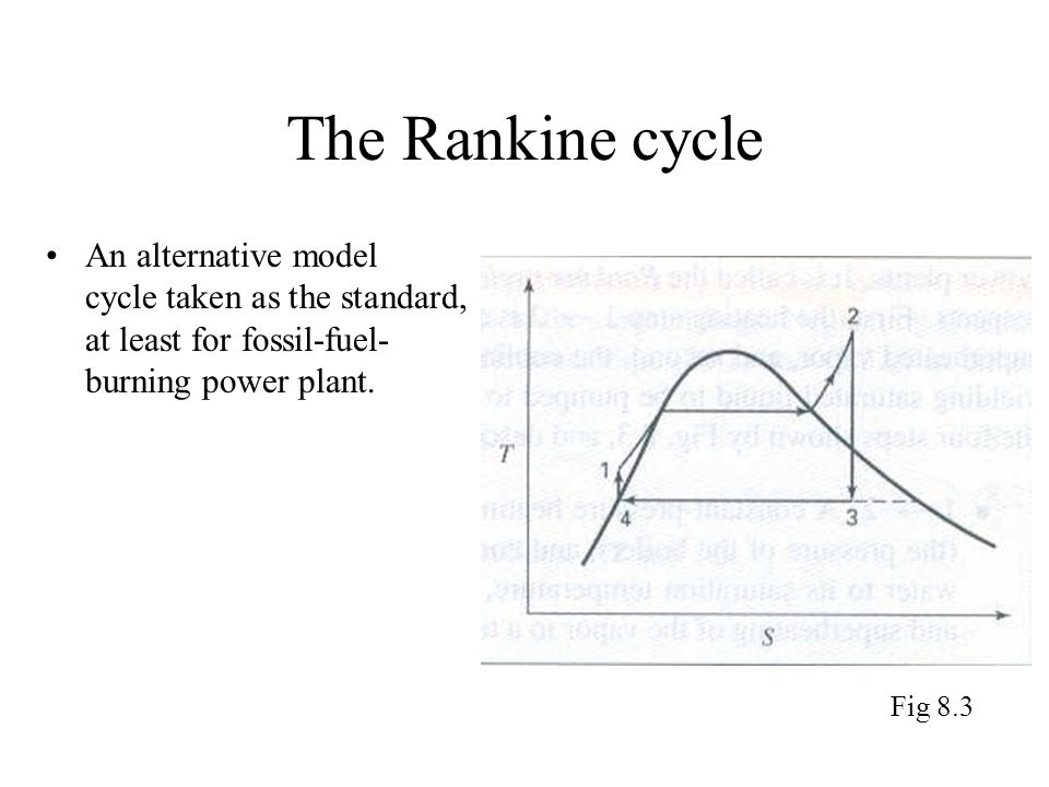 The Rankine cycle An alternative model cycle taken as the standard, at least for fossil-fuel- burning power plant. Fig 8.3