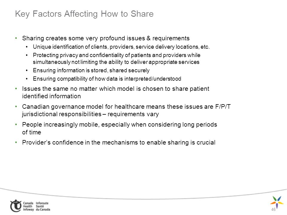 46 Key Factors Affecting How to Share Sharing creates some very profound issues & requirements Unique identification of clients, providers, service de