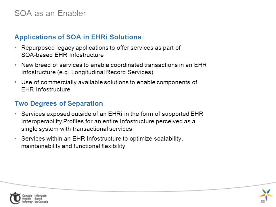 98 SOA as an Enabler Applications of SOA in EHRi Solutions Repurposed legacy applications to offer services as part of SOA-based EHR Infostructure New