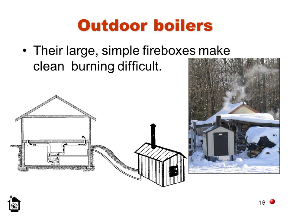 16 Outdoor boilers Their large, simple fireboxes make clean burning difficult.