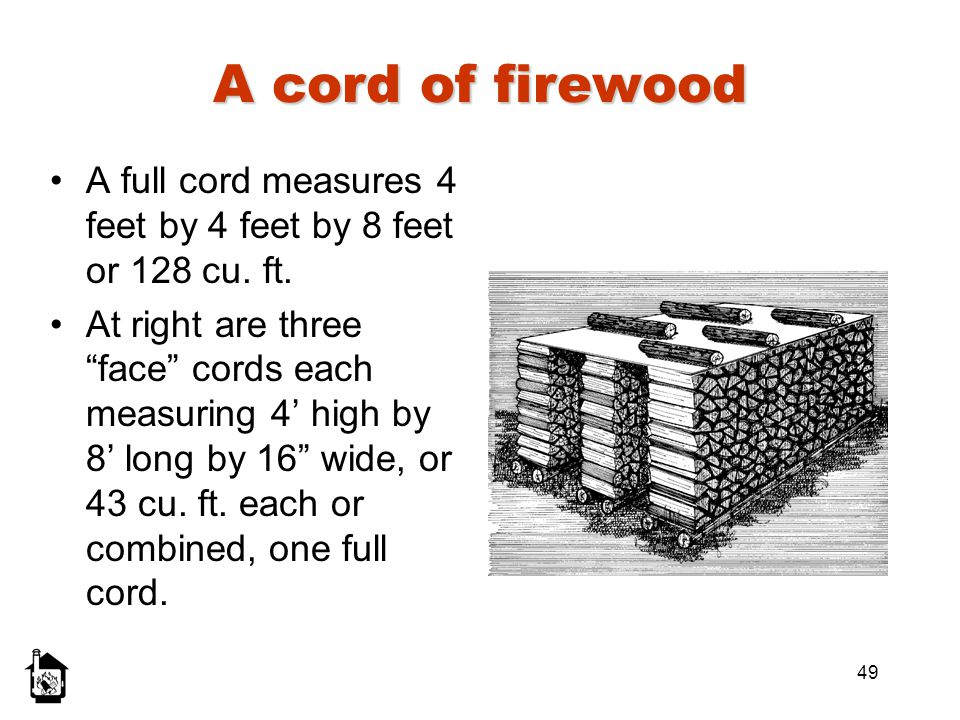 49 A cord of firewood A full cord measures 4 feet by 4 feet by 8 feet or 128 cu. ft. At right are three face cords each measuring 4 high by 8 long by