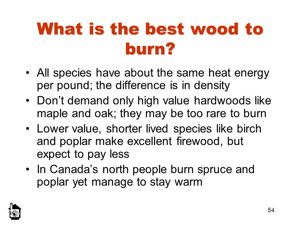 54 What is the best wood to burn? All species have about the same heat energy per pound; the difference is in density Dont demand only high value hard