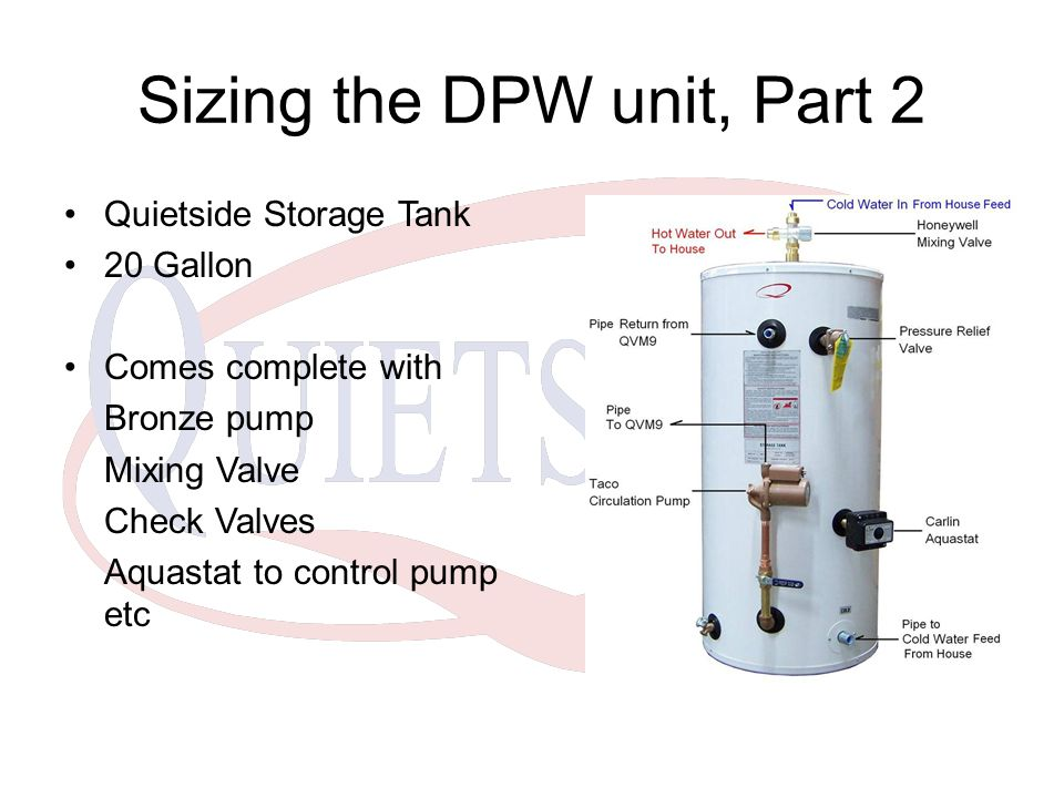 Sizing the DPW unit, Part 2 Quietside Storage Tank 20 Gallon Comes complete with Bronze pump Mixing Valve Check Valves Aquastat to control pump etc