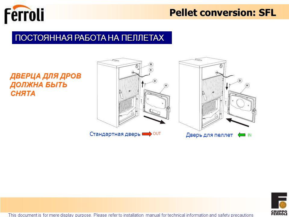 Pellet conversion: SFL 035004X0 KIT TRASF.PELLET D.P.SFL БЫСТРОЕ ИЗМЕНЕНИЕ ВИДА ТОПЛИВА РАБОТА НА ПЕЛЛЕТАХ ПОСТОЯННО 035003X1 KIT TRASF.PELLET P.DX SFL Это позволяет переключаться между видами топлива с минимальными усилиями.