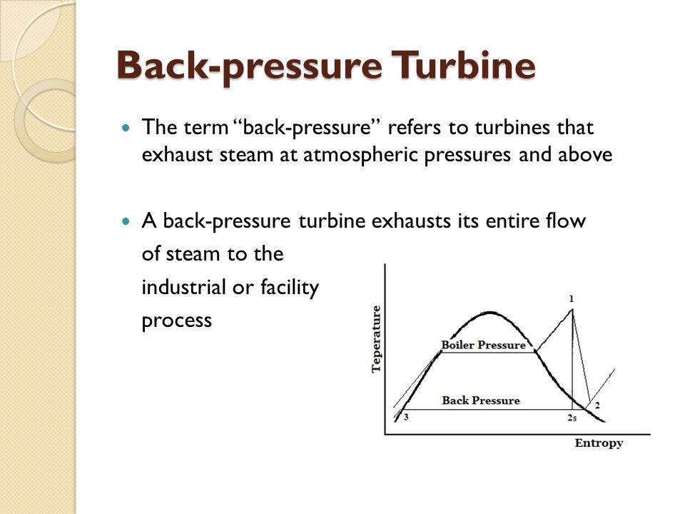 Back-pressure Turbine The term back-pressure refers to turbines that exhaust steam at atmospheric pressures and above A back-pressure turbine exhausts