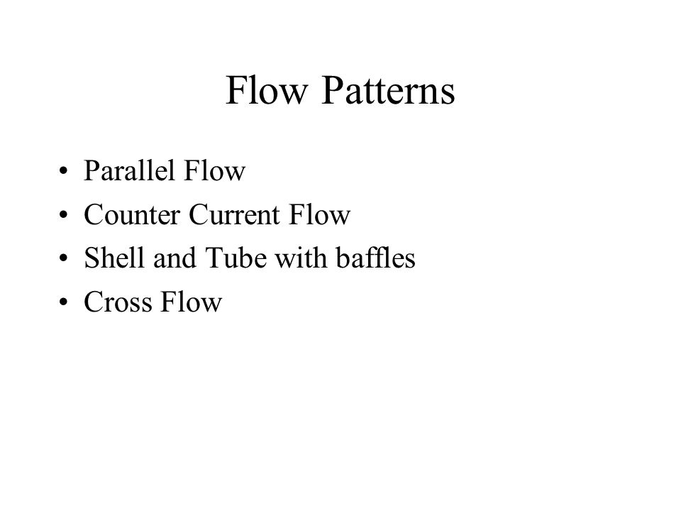 Flow Patterns Parallel Flow Counter Current Flow Shell and Tube with baffles Cross Flow