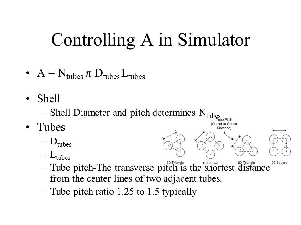 Controlling A in Simulator A = N tubes π D tubes L tubes Shell –Shell Diameter and pitch determines N tubes Tubes –D tubes –L tubes –Tube pitch-The tr