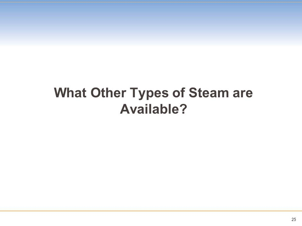 25 What Other Types of Steam are Available?