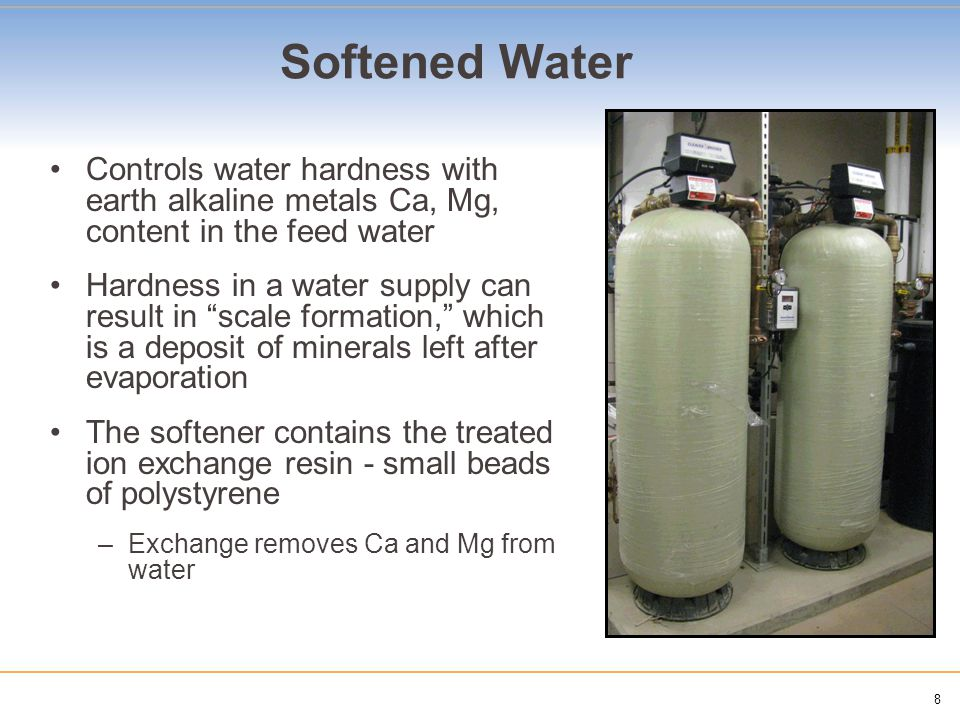 9 DI and RO – Purified Water Deionized (DI) Water -Physical process using ion exchange resin -Traps specifically charged ions such as: -Na, Ca, Fe, Cu, Cl, Chloride and Bromide Reverse Osmosis (RO) Water -Liquid Filtrations method -Water forced through membrane at high pressure -Pore size of membrane limits specific elements from passing DI System with Water Softener