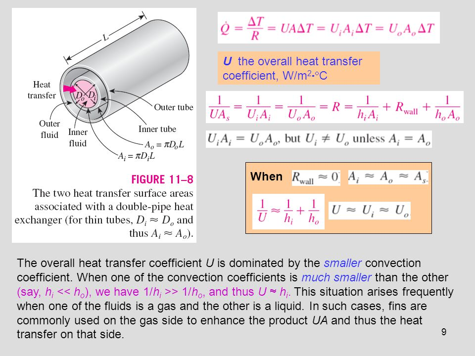 9 U the overall heat transfer coefficient, W/m 2 C When The overall heat transfer coefficient U is dominated by the smaller convection coefficient. Wh
