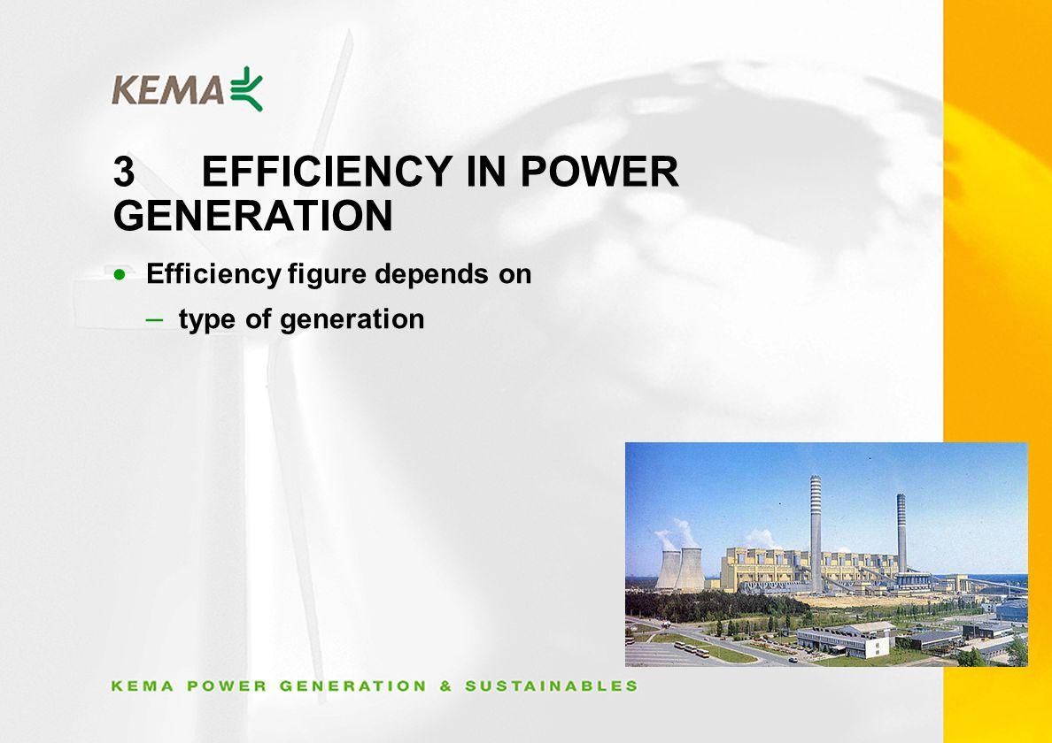 3EFFICIENCY IN POWER GENERATION Efficiency figure depends on – type of generation