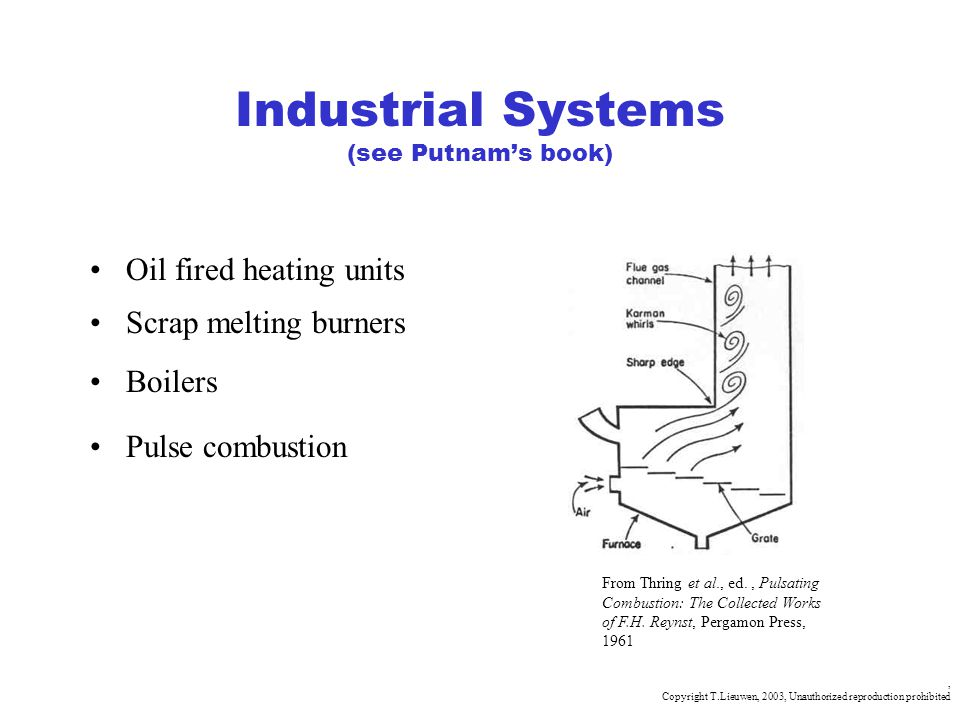 , Copyright T.Lieuwen, 2003, Unauthorized reproduction prohibited Industrial Systems (see Putnams book) Oil fired heating units Scrap melting burners