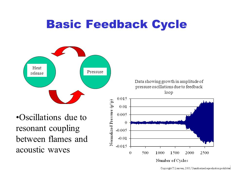 , Copyright T.Lieuwen, 2003, Unauthorized reproduction prohibited Basic Feedback Cycle Heat release Pressure Oscillations due to resonant coupling bet
