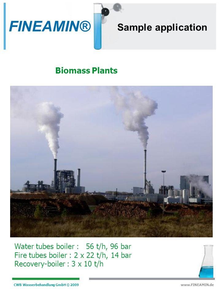 CWB Wasserbehandlung GmbH © 2009 www.FINEAMIN.de Sample application Water tubes boiler : 15,7 t/h, 35 bar turbine : 12 MW KKK Incineration Plants FINE