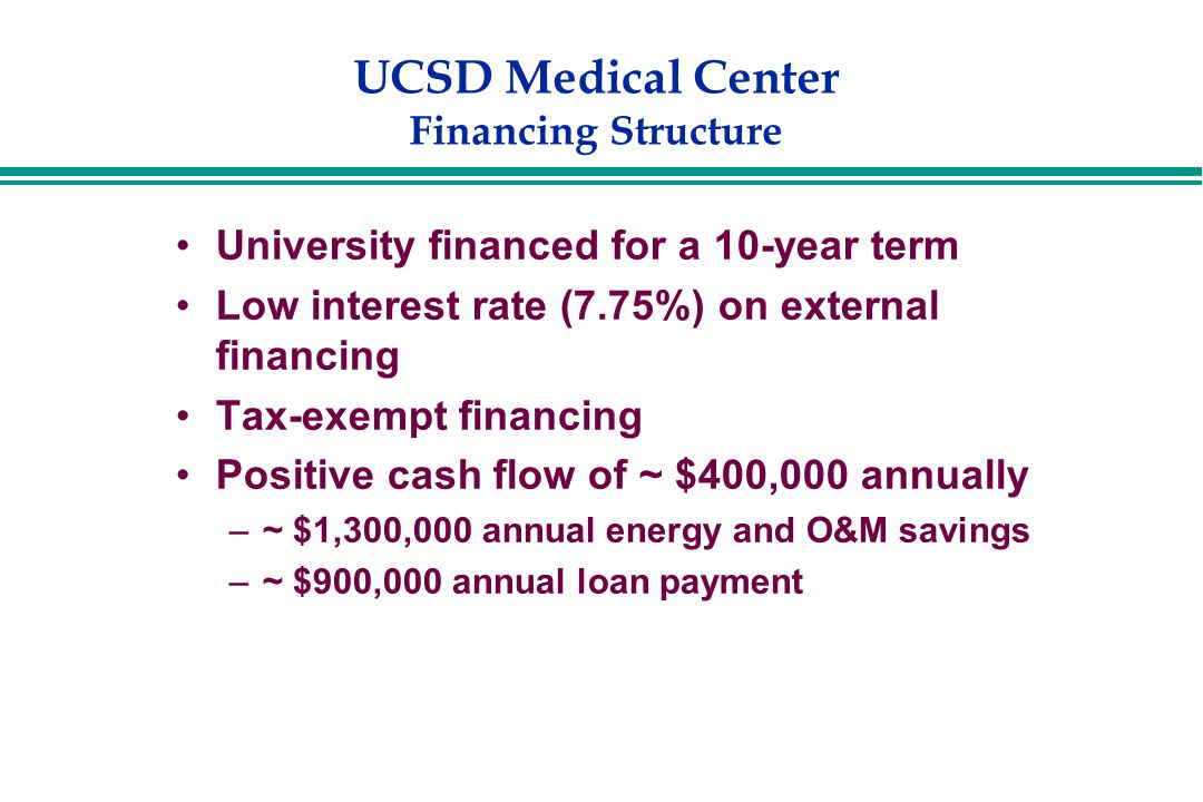 UCSD Medical Center Financing Structure University financed for a 10-year term Low interest rate (7.75%) on external financing Tax-exempt financing Positive cash flow of ~ $400,000 annually –~ $1,300,000 annual energy and O&M savings –~ $900,000 annual loan payment