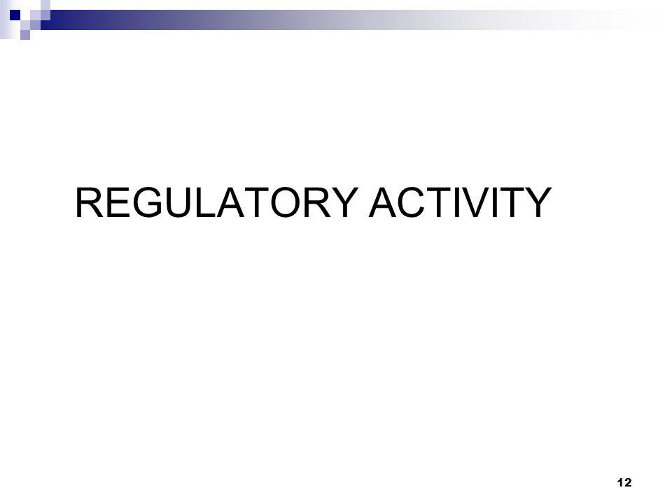 REGULATORY ACTIVITY 12