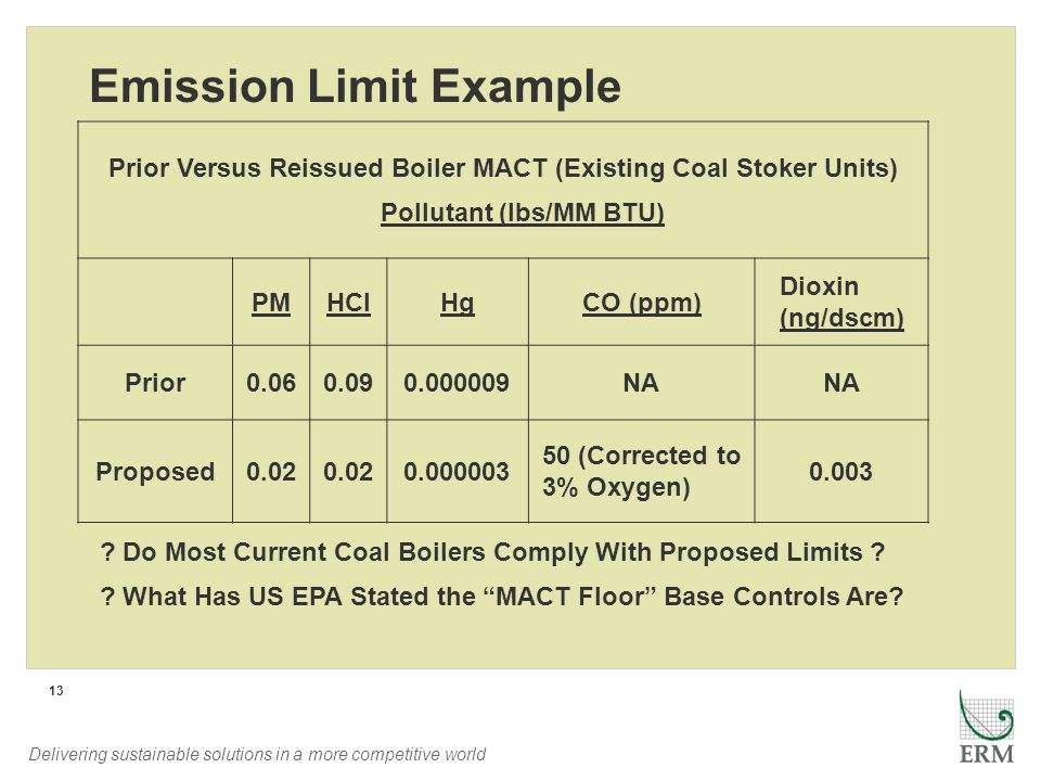 Delivering sustainable solutions in a more competitive world 13 Emission Limit Example Prior Versus Reissued Boiler MACT (Existing Coal Stoker Units) Pollutant (lbs/MM BTU) PMHClHgCO (ppm) Dioxin (ng/dscm) Prior0.060.090.000009NA Proposed0.02 0.000003 50 (Corrected to 3% Oxygen) 0.003 .