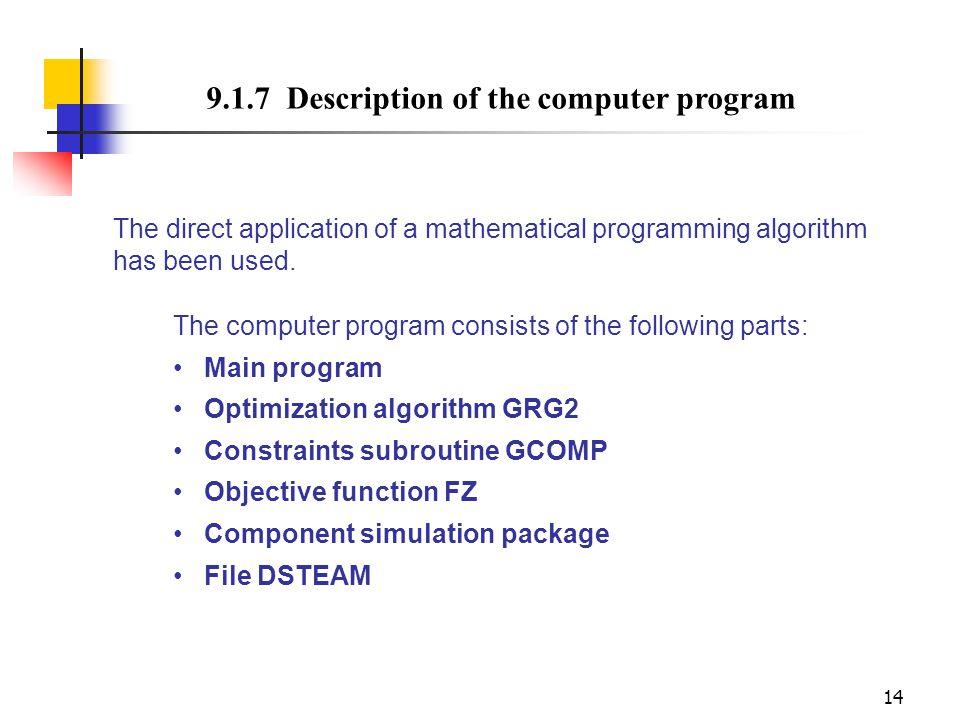 14 9.1.7 Description of the computer program The computer program consists of the following parts: Main program Optimization algorithm GRG2 Constraint