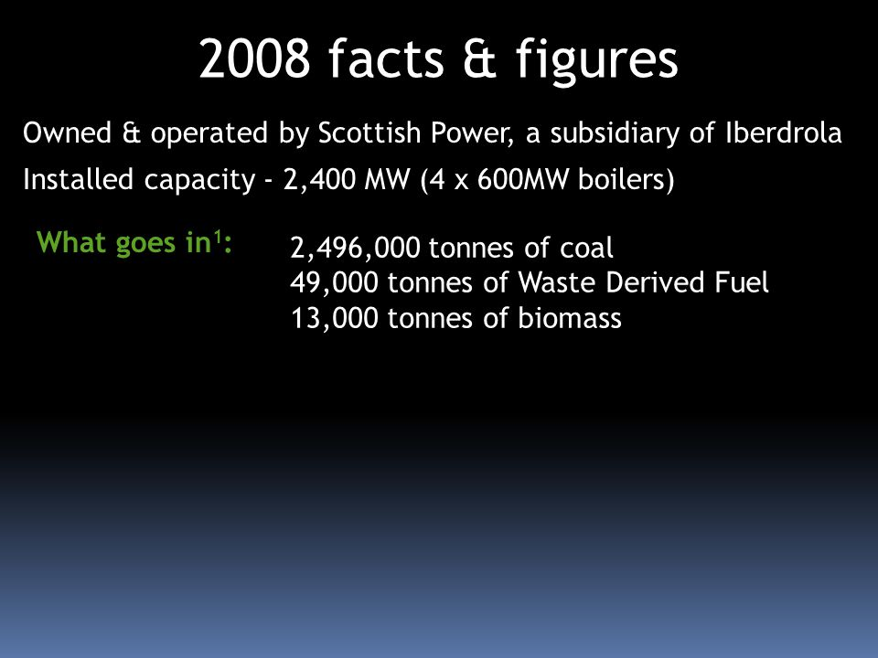 Owned & operated by Scottish Power, a subsidiary of Iberdrola Installed capacity - 2,400 MW (4 x 600MW boilers) 2008 facts & figures 2,496,000 tonnes