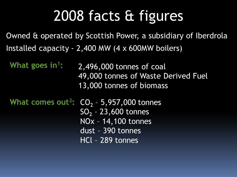 Owned & operated by Scottish Power, a subsidiary of Iberdrola Installed capacity - 2,400 MW (4 x 600MW boilers) 2008 facts & figures CO 2 – 5,957,000 tonnes SO 2 – 23,600 tonnes NOx – 14,100 tonnes dust – 390 tonnes HCl – 289 tonnes 2,496,000 tonnes of coal 49,000 tonnes of Waste Derived Fuel 13,000 tonnes of biomass What comes out 2 : What goes in 1 :