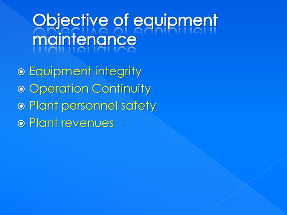 Equipment integrity Equipment integrity Operation Continuity Operation Continuity Plant personnel safety Plant personnel safety Plant revenues Plant r