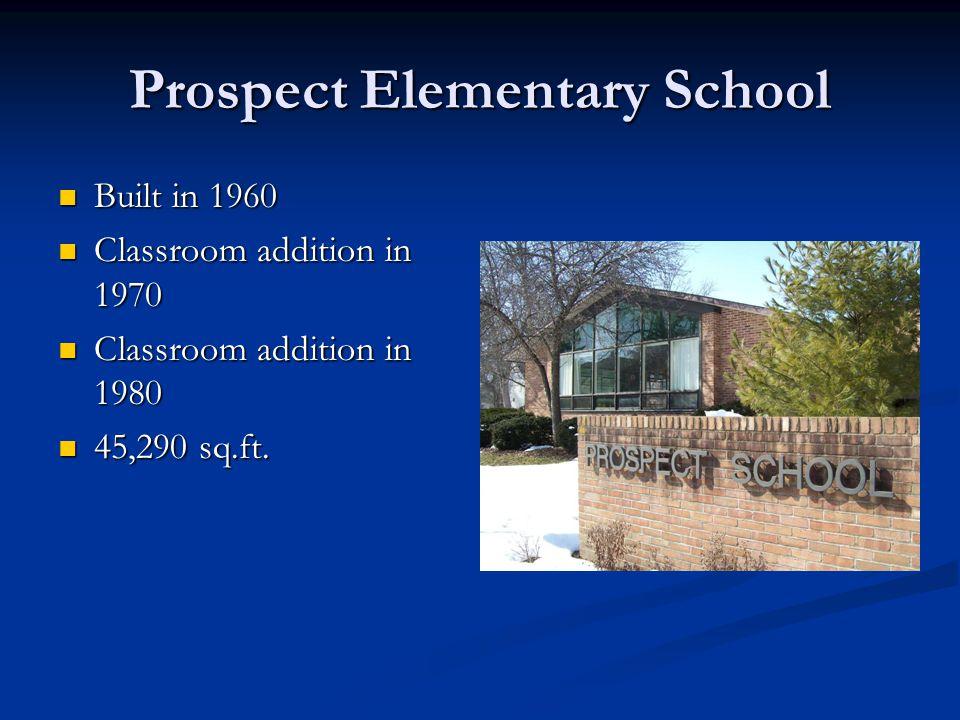 Prospect Elementary School Built in 1960 Built in 1960 Classroom addition in 1970 Classroom addition in 1970 Classroom addition in 1980 Classroom addi