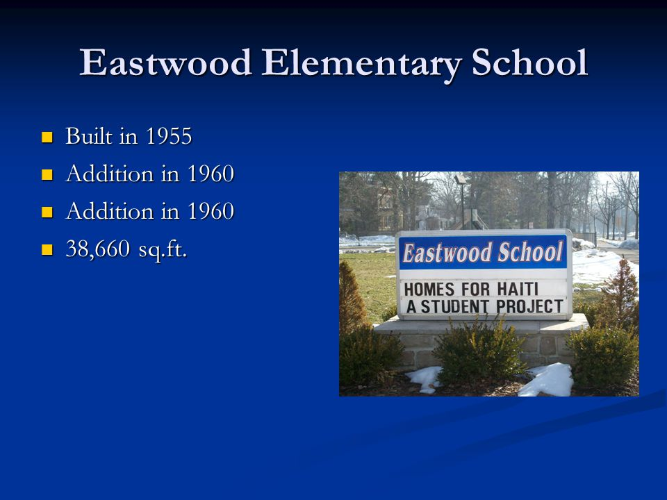 Eastwood Elementary School Built in 1955 Built in 1955 Addition in 1960 Addition in 1960 38,660 sq.ft.