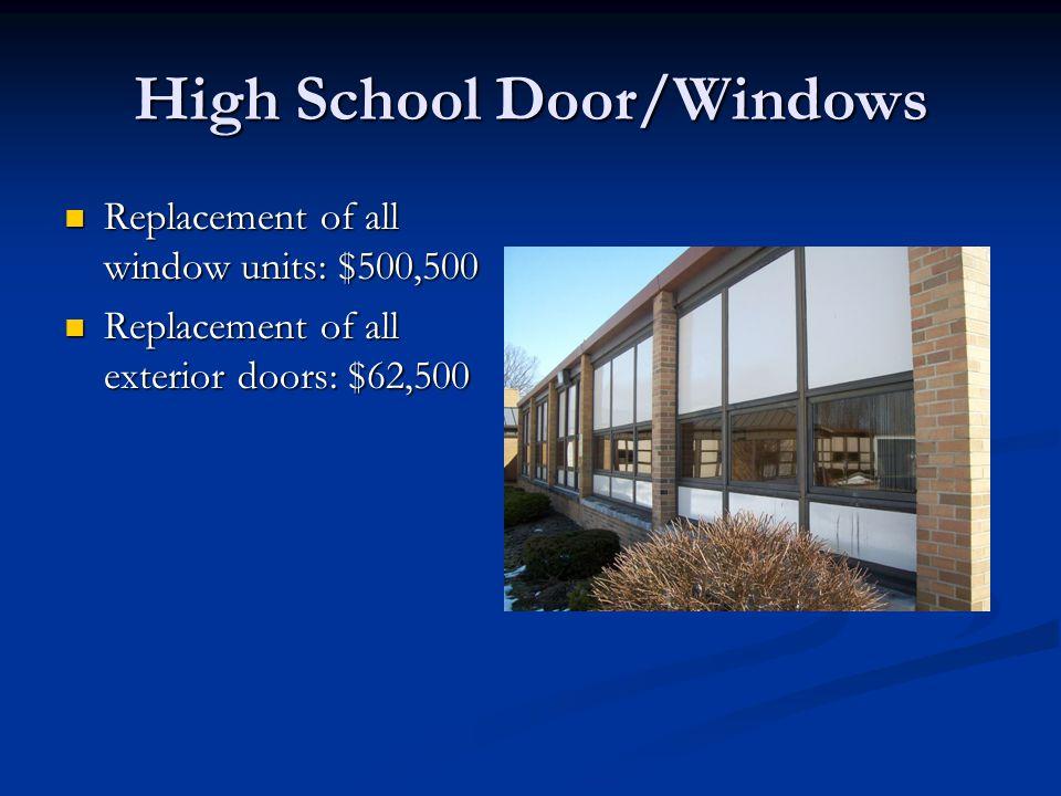 High School Door/Windows Replacement of all window units: $500,500 Replacement of all window units: $500,500 Replacement of all exterior doors: $62,500 Replacement of all exterior doors: $62,500