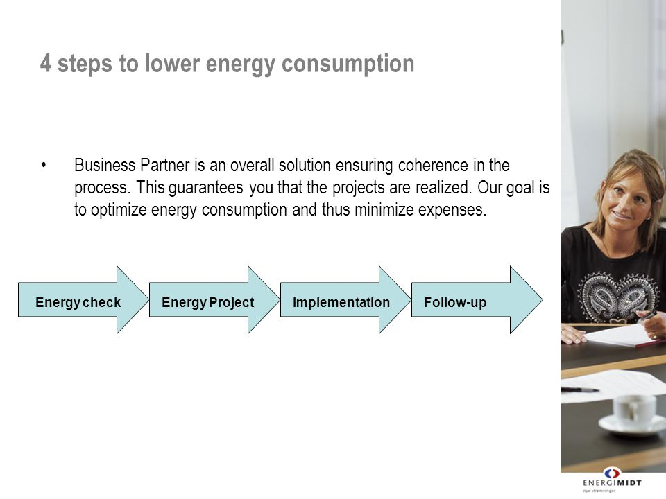 4 steps to lower energy consumption Business Partner is an overall solution ensuring coherence in the process.