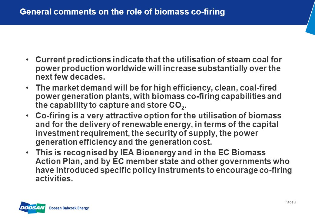Page 3 General comments on the role of biomass co-firing Current predictions indicate that the utilisation of steam coal for power production worldwid