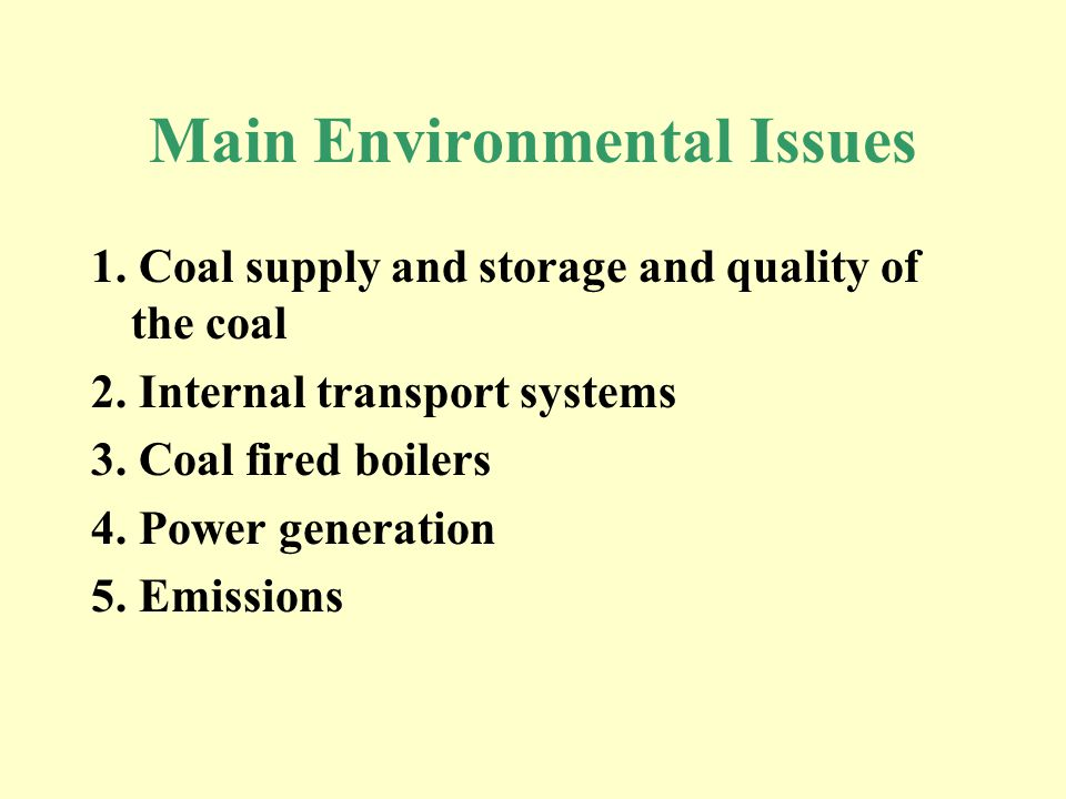 Main Environmental Issues 1. Coal supply and storage and quality of the coal 2.